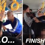 Cô gái đá thẳng vào mặt cụ ông vì phải nhường ghế xe buýt