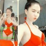 Ngọc Trinh mặc bikini có hình ảnh lá cờ Trung Quốc